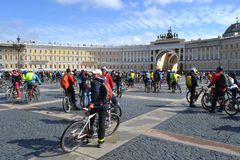 Finish cycling on Palace Square of St.Petersburg Stock Photography