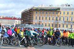 Finish cycling on Palace Square of St.Petersburg Royalty Free Stock Image