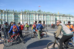 Finish cycling on Palace Square of St.Petersburg Royalty Free Stock Photography