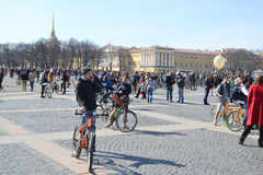 Finish cycling on Palace Square of St.Petersburg Stock Photo