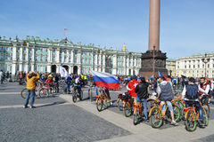 Finish cycling on Palace Square of St.Petersburg Stock Photos