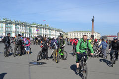 Finish cycling on Palace Square of St.Petersburg Stock Images