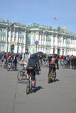 Finish cycling on Palace Square of St.Petersburg Royalty Free Stock Photo