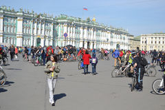 Finish cycling on Palace Square of St.Petersburg Royalty Free Stock Photos