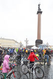 Finish cycling on Palace Square of St.Petersburg. Stock Photo