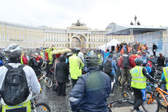Finish cycling on Palace Square of St.Petersburg. Stock Photos