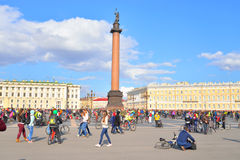 Finish cycling on Palace Square of St.Petersburg. Royalty Free Stock Images