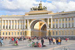 Finish cycling on Palace Square of St.Petersburg. Royalty Free Stock Image