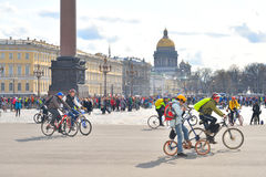 Finish cycling on Palace Square of St.Petersburg. Royalty Free Stock Photos