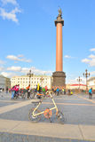 Finish cycling on Palace Square of St.Petersburg. Stock Images
