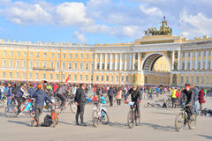 Finish cycling on Palace Square of St.Petersburg. Royalty Free Stock Photo
