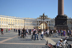 Finish cycling on Palace Square of St.Petersburg Royalty Free Stock Images