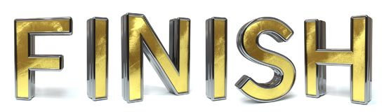 Finish golden text. Finish 3d rendered gold and silver color text on white Stock Photography