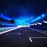 Finish drive on the racetrack in motion blur with stadium and spotlights. Racing sport digital background illustration Royalty Free Stock Images