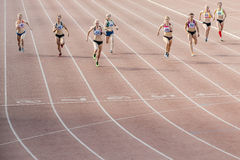 Finish the final sprint of  race at 100 meters women Stock Image