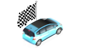 Finish flag with car. Part of isometric collections of animated objects for for use in presentations, manuals, design, etc Stock Photo