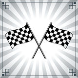 Finish flag. Checkered flags on a background with rays Royalty Free Stock Image