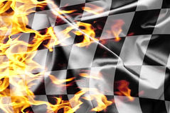 Finish flag on fire. Athletic finish flag on fire Royalty Free Stock Photos
