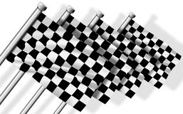 Finish flags. A group of four black and white finish flags Stock Photos