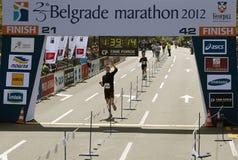 Finish on half marathon Royalty Free Stock Image