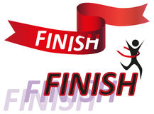 Finish. Illustration of red tape, label and finish running man on a white background Royalty Free Stock Photography