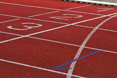 Finish Lane in Athletic Stadion Stock Images