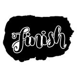 Finish lettering word logo isolated on white, vector illustration. Finish lettering word logo, black white, vector illustration Stock Images