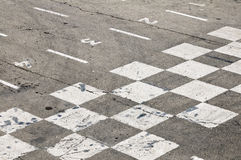 Finish Line. Overhead view of a racetrack finish line stock image