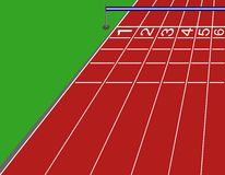 Finish line. Illustration of the finish line of an athletics track Stock Photo