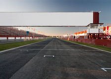 Finish line. A racetrack with an empty board, for filling with text o logo Stock Image