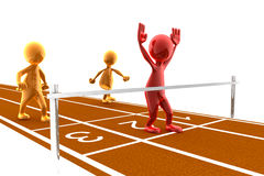 Finish line. Picture of a finish line with a red character winning the race. Concept of winning, achievement, reaching a goal Stock Image
