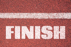 Finish line on asphalt Stock Photo