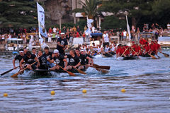 Finish line of a boat marathon on the Neretva River Royalty Free Stock Photo