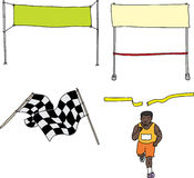 Finish Line Cartoons. Runner and finish line series on white background Royalty Free Stock Photo