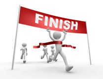 Finish line. 3d people - man, person crossing the finishing line Stock Image
