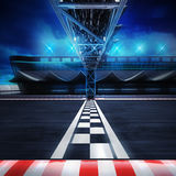 Finish line gate on the racetrack in motion blur side view. Racing sport digital background illustration Stock Photos