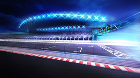 Finish line gate on racetrack with stadium in motion blur. Racing sport digital background illustration Royalty Free Stock Photos