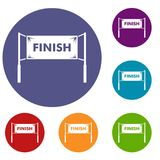 Finish line gates icons set Royalty Free Stock Image