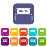 Finish line gates icons set. Vector illustration in flat style in colors red, blue, green, and other Stock Photo