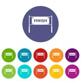 Finish line gates set icons Stock Photo