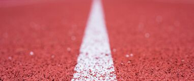 Free Finish Line. Health And Sport. Path For Runners. Racetrack On Outdoor Stadium. Stock Images - 214480974