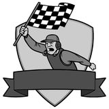 Finish Line Insignia Illustration. A vector cartoon illustration of a race car Finish Line Insignia concept Stock Image