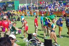 Finish line of marathon at Rio2016 Stock Photography