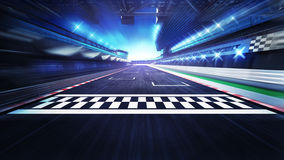 Finish Line On The Racetrack With Spotlights In Motion Blur Royalty Free Stock Photography
