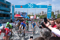 Finish line of Presidental cycling tour of Turkey 2014 Royalty Free Stock Photos