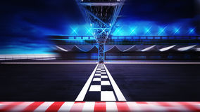 Finish line on the racetrack in motion blur side view Royalty Free Stock Photography