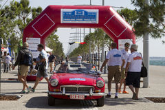 Finish line of the rally Tour Amical. A Classic Car Rally, in T. THESSALONIKI, GREECE- MAY 13, 2014: Finish line of the rally Tour Amical. A Classic Car Rally royalty free stock photography