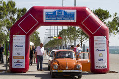 Finish line of the rally Tour Amical. A Classic Car Rally, in T. THESSALONIKI, GREECE- MAY 13, 2014: Finish line of the rally Tour Amical. A Classic Car Rally stock photography