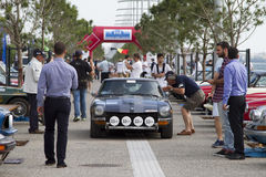 Finish line of the rally Tour Amical. A Classic Car Rally, in T. THESSALONIKI, GREECE- MAY 13, 2014: Finish line of the rally Tour Amical. A Classic Car Rally royalty free stock photo