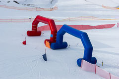 Finish line during skiing competitions in winter period. In a ski-resort Stock Photo